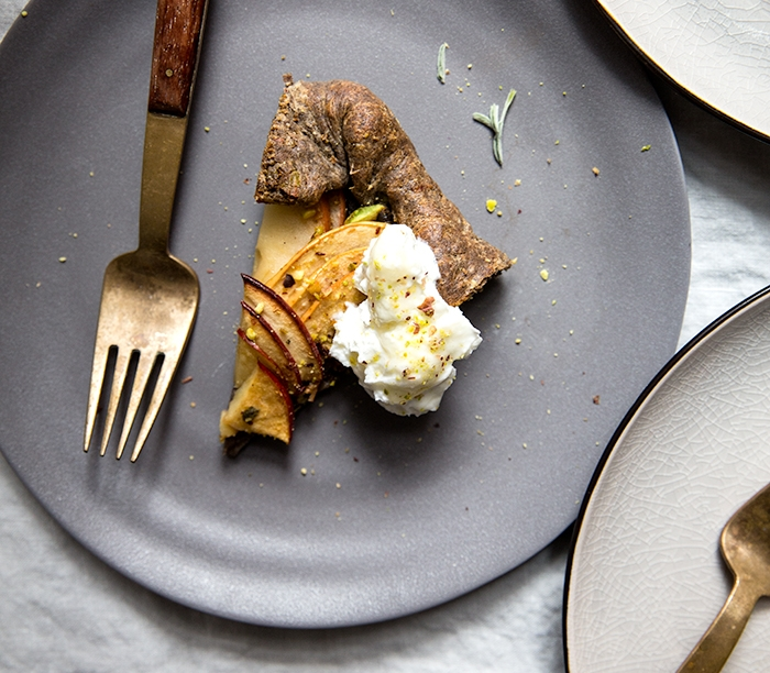 apple + sage galette with salted honey labneh