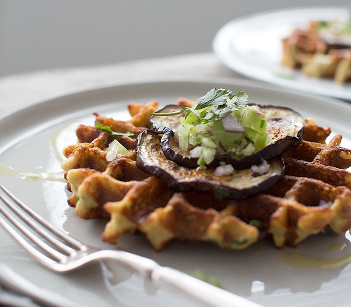 turnip + shallot + chive waffles topped with eggplant + salsa verde