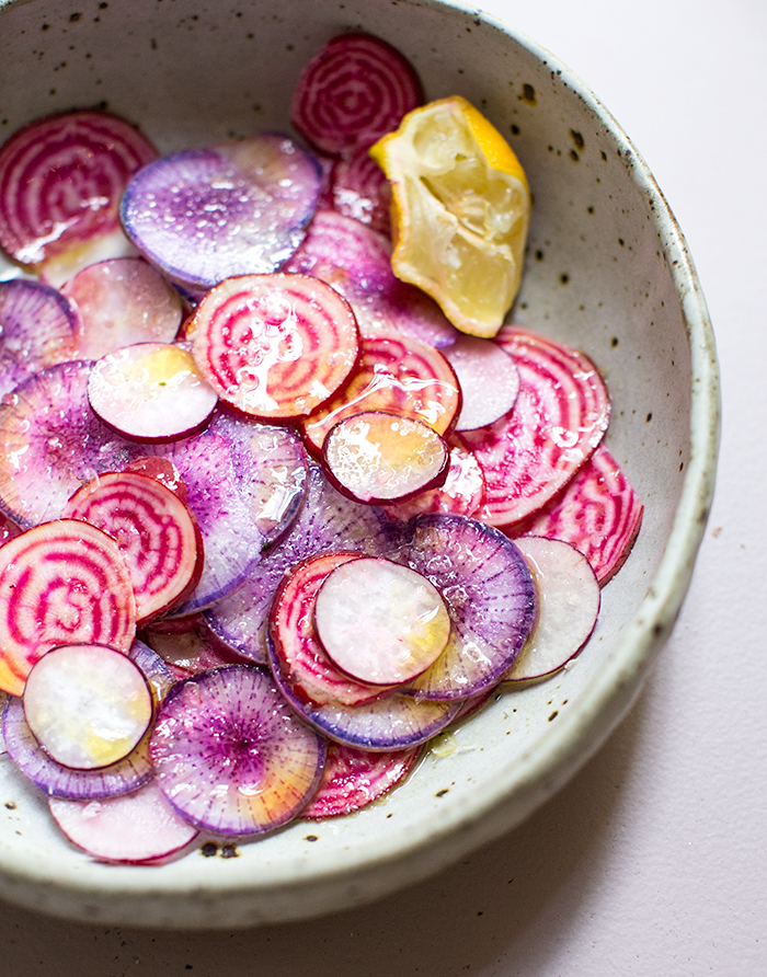 beet + radish carpaccio with preserved lemon yogurt   what's cooking good looking
