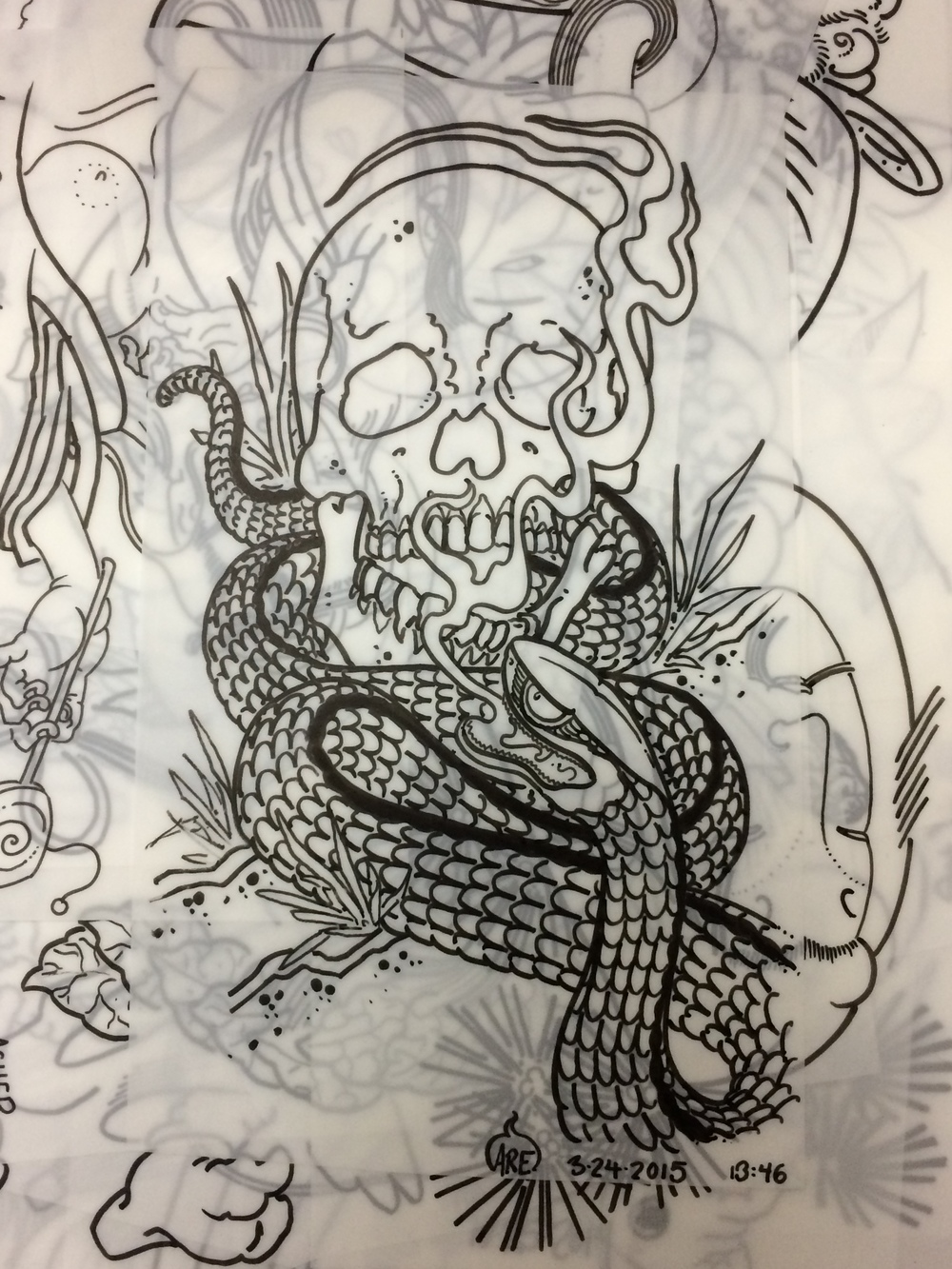 Skull Snake Backpiece drawing