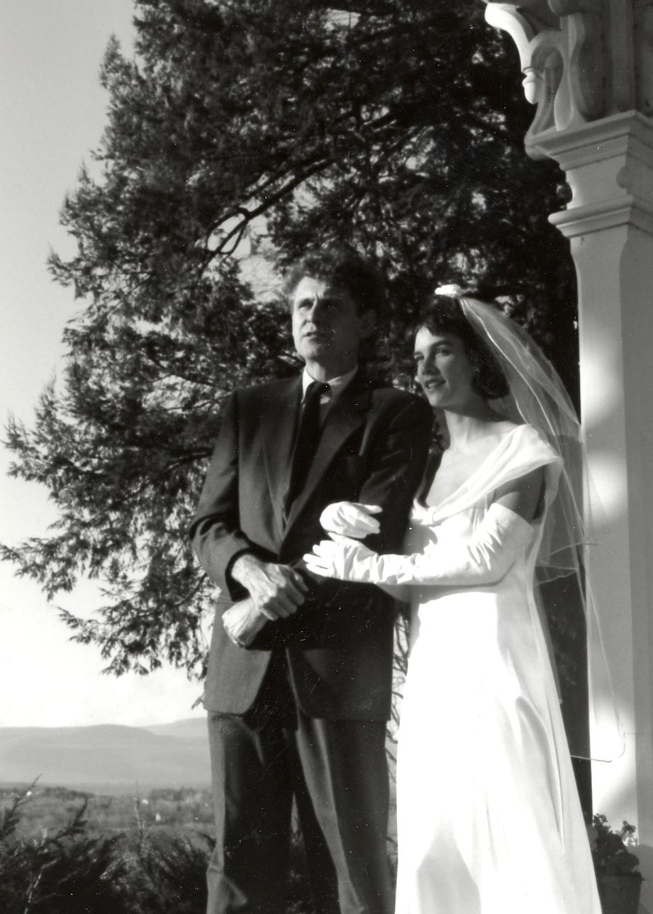 Hart & Dana Perry on their wedding day at Southwood in 1989