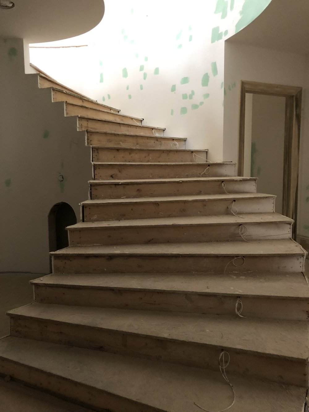 French Revival Project Sneak Peek At The Stairs And Basement How To Wire A Idea Wiring Notice All Wires On Right Side Of Will Have Lighting Going Up Down It Was Definite Must For Our Clients