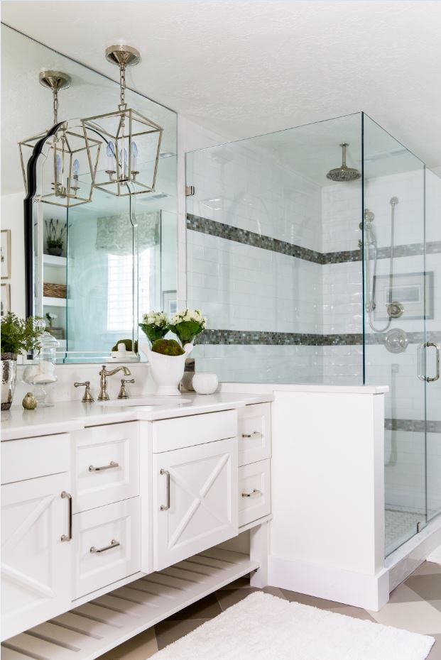 Our client decided to go with a classic white tile accented with black and gray trim, a totally timeless combination in our opinion.
