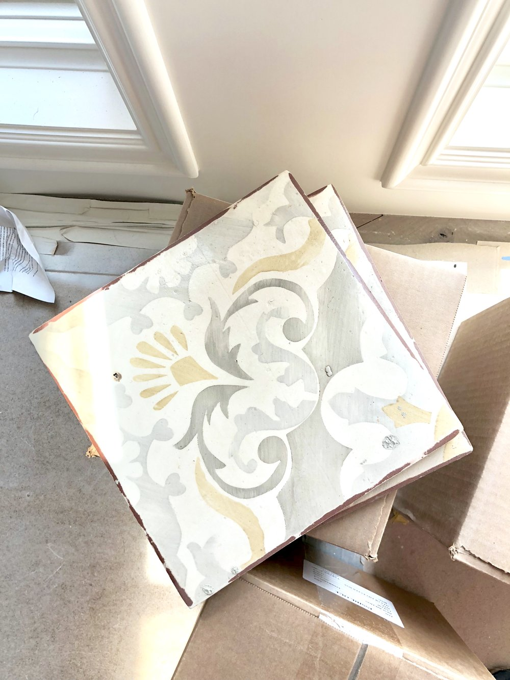 Isn't this custom tile amazing? Each piece is hand painted and just gorgeous. We looked at a lot of tile for this space in a wide variety of colors, but this particular option just felt right!