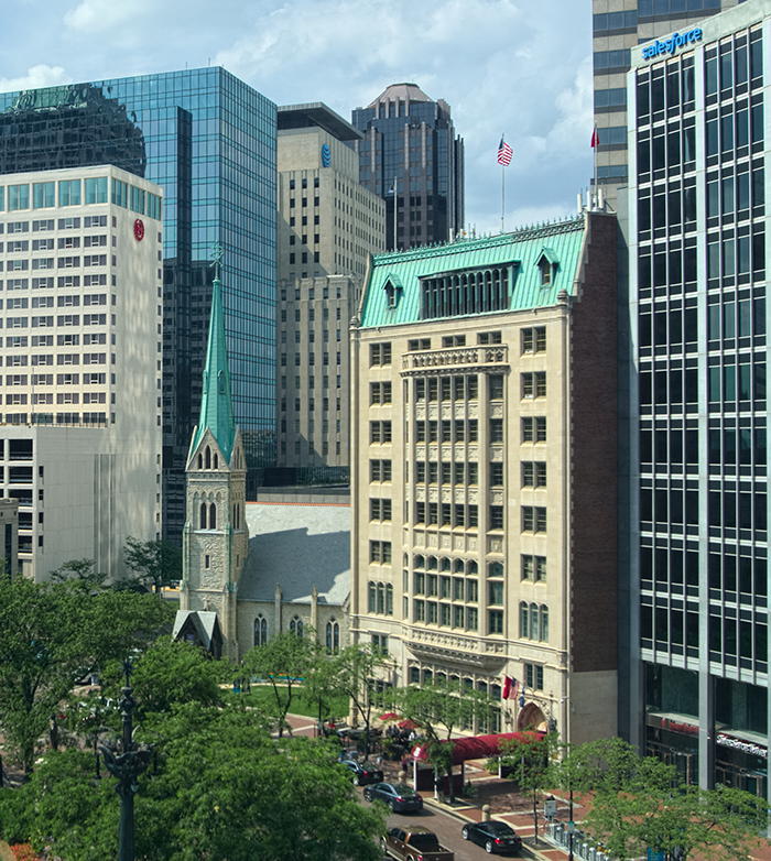 This is the view from our Indianapolis office at 55 Monument Circle.