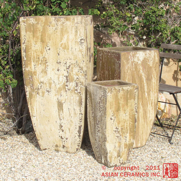 Tall Square Tapered Antiqued Planters  Photo: Asian Ceramics Inc.