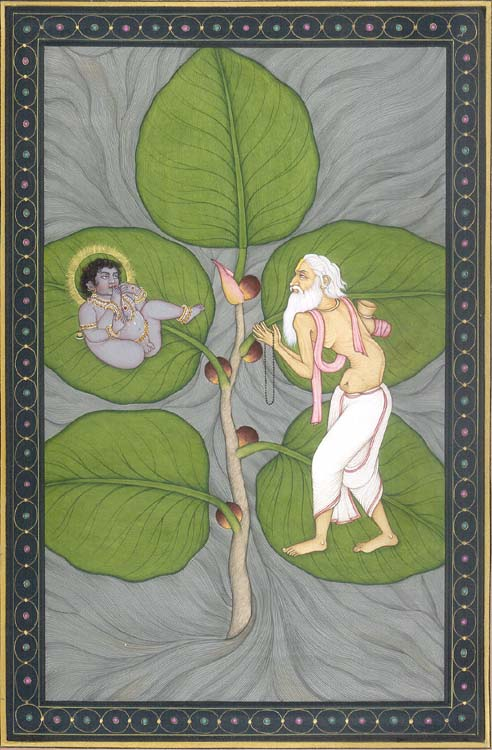 "Photo: Kailash Raj, Krishna on a Fig Leaf, Watercolor on paper, 8"" x 12"""