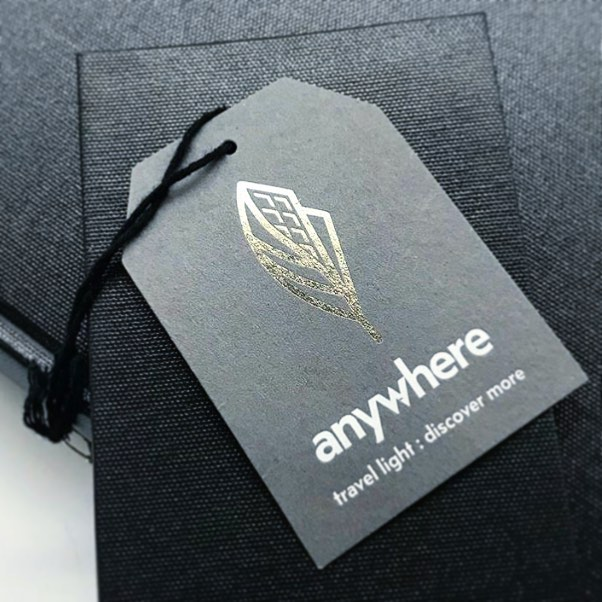 ⚡️That feeling you get when you see your #icon design looking 💣. @anywhereapparel heightens everything they touch!  #repost 📷 @campbellloganbindery • • • • #ivyandink #design #logo #foil #hangtag #print #press #graphicdesign #branding #styling #neutrals #contemporary #style #minimal #vector #fashion #packaging #retail