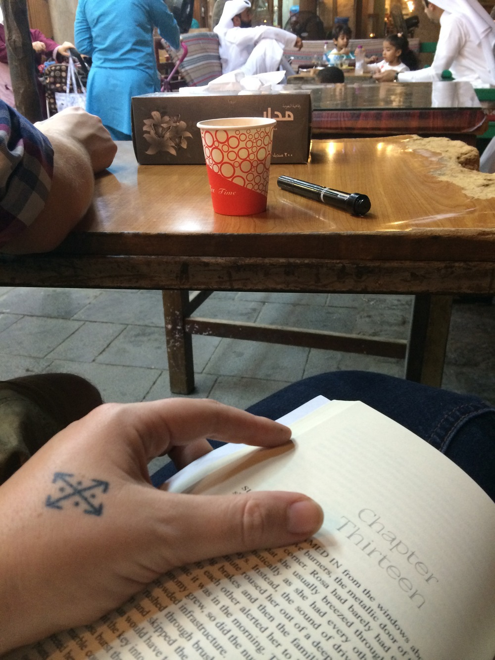 Starting to find my favorite things to do. Read, write in my book and have a karak with the locals.
