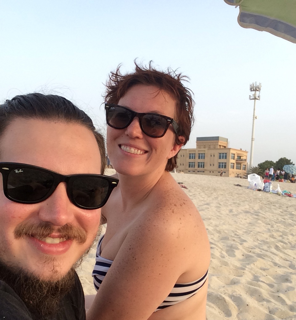Justin and I relaxing on Kite Beach, Dubai, UAE