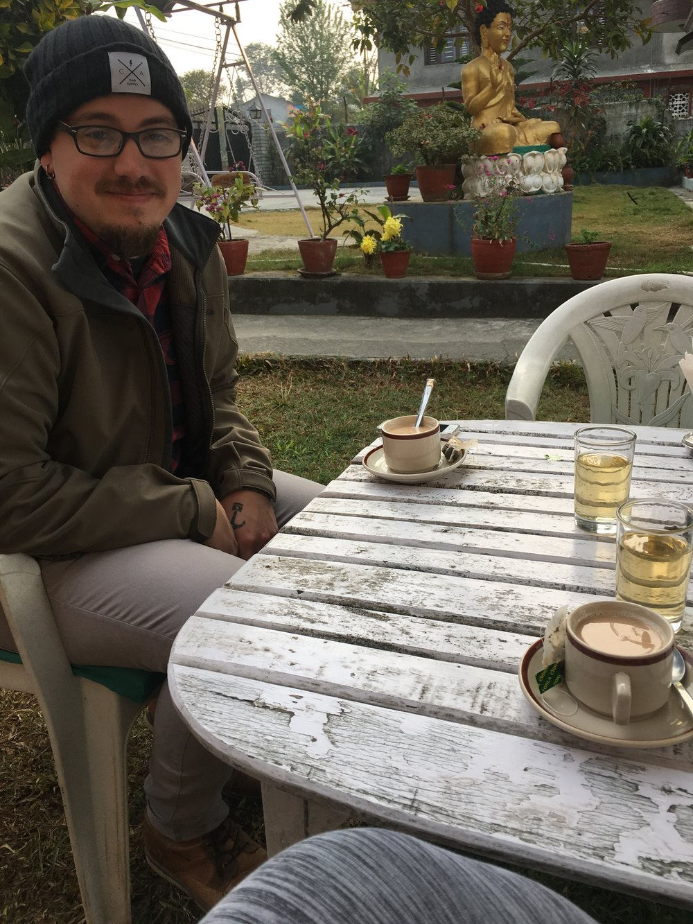 Enjoying some chai before we both disappeared into our own books & maps. Pokhara, Nepal