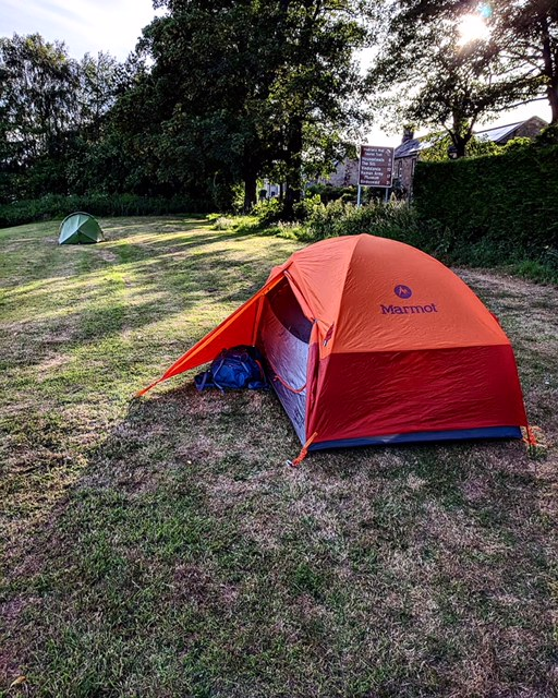 Our tent area for the night. We then walked 1/2 mile to the local pub to eat our weight in fish and chips before heading back to freeze next to the river.