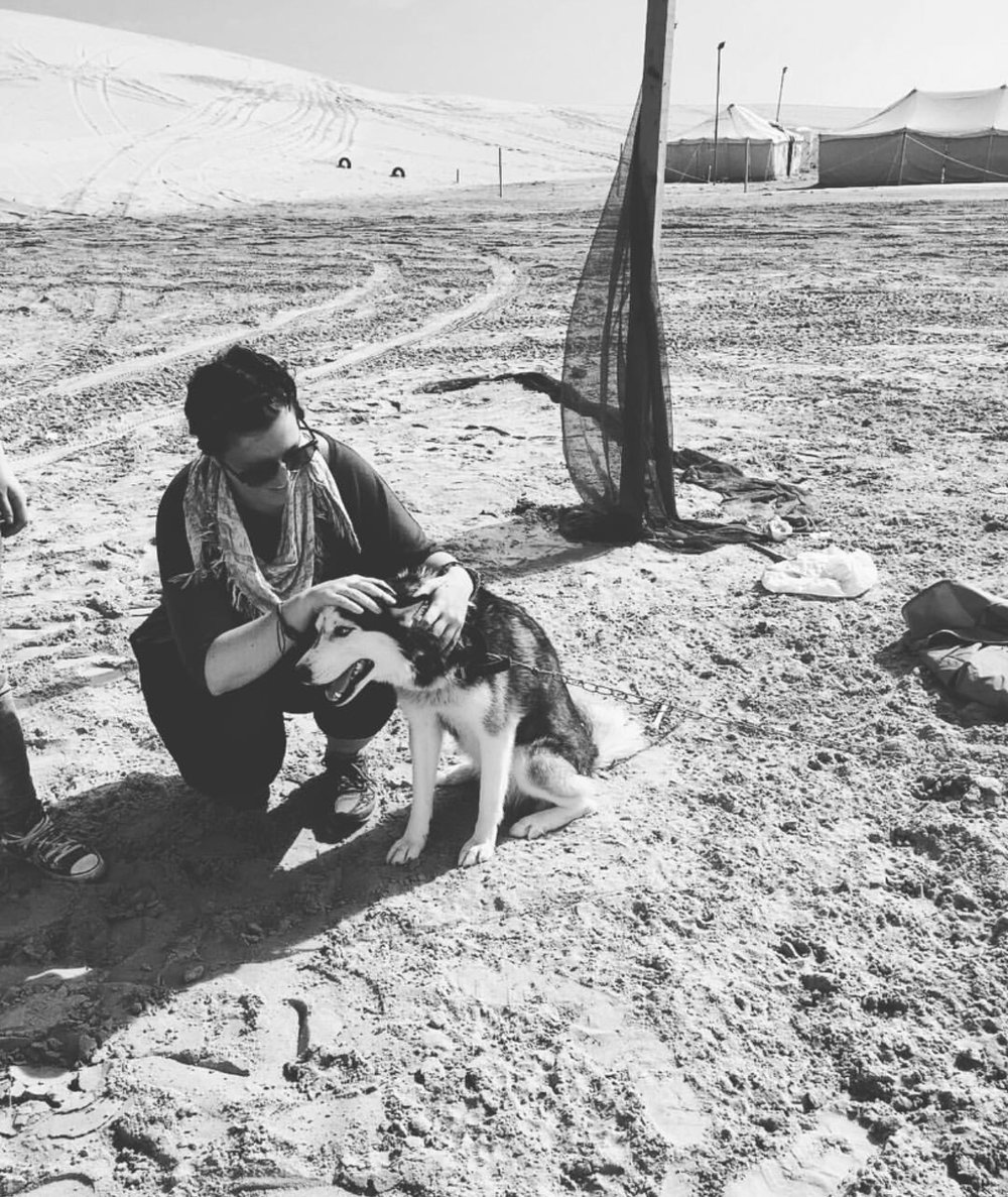 Playing with huskies in the Middle East is my specialty.