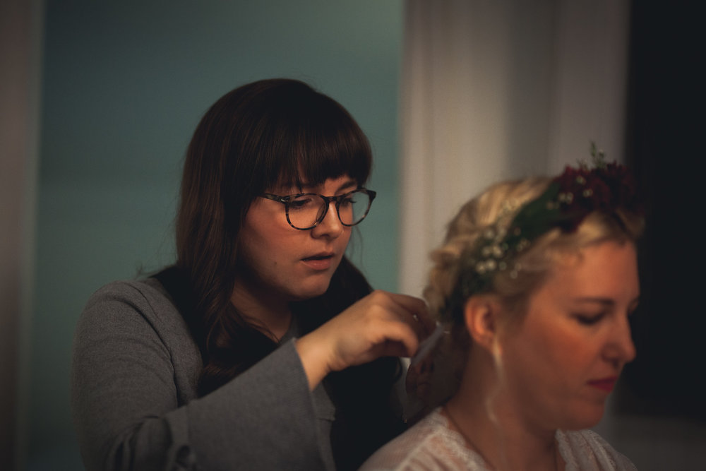 Courtney customizes your flower crown on the spot so you know it fits your hairstyle perfectly. They met us at our little cozy airbnb and we finalized everything there.
