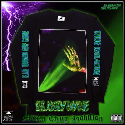 "TZ006     LIL UGLY MANE ""RIP HUMAN RAP GAME""   LONGSLEEVE TEE SHIRT 1ST RUN EDITION OF 50. 2ND RUN EDITION OF 330. 3RD RUN EDITION OF 350.  NOTES:  DESIGNED BY LIL UGLY MANE. RINGSPUN COTTON WITH FULL COLOR PRINTING ON FRONT AND SLEEVES. THUNDER ZONE LOGO SCREENPRINT ON INSIDE PLUS CUSTOM HANG TAG ON FIRST RUN  .   LIL UGLY MANE IS AN AMERICAN MYSTERY. DO YOUR RESEARCH AND TRY TO CONNECT THE DOTS. THERE IS A LOT OF HISTORY HERE.   OUT OF PRINT"