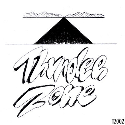 TZ002     THUNDER ZONE LOGO STICKER   3 X 3 VINYL STICKER EDITION OF 300  NOTES:  LOGO DESIGN BY ZANE REYNOLDS AKA SFV ACID. THUNDER ZONE IS A FEELING THAT EXISTS WHEN YOUR BACK IS AGAINST THE WALL AND YOUR CAR IS ON THE HIGHWAY. NO RULES BECAUSE THERE'S NO CHOICE.    OUT OF PRINT