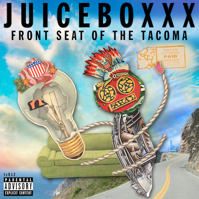 "TZ012 JUICEBOXXX ""FRONT SEAT OF THE TACOMA"" DIGITAL EP UNLIMITED EDITION NOTES: 6 NEW TRACKS OF BLOWN OUT NU AMERCIANA CONNECTING THE DOTS BETWEEN SUICIDE, NEW KINGDOM, GUIDED BY VOICES AND BEASTIE BOYS. ANOTHER PIECE IN THE NEVERENDING AMERICAN POP MUSIC PUZZLE THAT IS JUICEBOXXX. COVER BY 333 BOYZ. DOWNLOAD  VIDEOS 1 2 3"