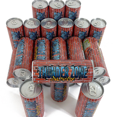 TZ005 THUNDER ZONE ENERGY 8.4 FL OZ ENERGY DRINK UNLIMITED EDITION NOTES: THE FLAGSHIP PRODUCT OF THUNDER ZONE ENT. FULL COLOR PRINTING. CAN DESIGN BY RAND SEVILLA. THIS IS ABOUT FOLLOWING YOUR HEART. THIS IS FOR ALL THE UNDERDOGS OUT THERE, SLAM A CAN AND KEEP GOING. THIS IS THE THUNDER ZONE. BUY (CASE) BUY (12 PACK)