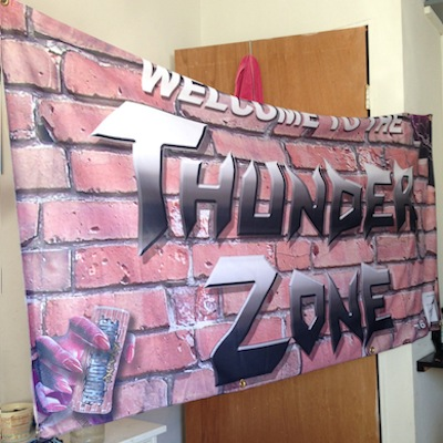 "TZ016 ""WELCOME TO THE THUNDER ZONE"" 3 X 6 CLOTH BANNER EDITION OF 1 NOTES: DESIGNED BY JACOB CIOCCI FROM EXTREME ANIMALS FOR THE THUNDER ZONE TOUR. ONLY ONE MADE EVER. AN IMPORTANT ITEM IN THUNDER ZONE HISTORY. ROCK AND ROLL WILL NEVER DIE. EMAIL FOR PRICE"