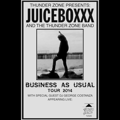 "TZ020 JUICEBOXXX ""BUSINESS AS USUAL"" POSTER 11 X 17 BLACK AND WHITE PHOTOCOPIED POSTER EDITION OF 250 NOTES: MADE BY PERRY SHALL FOR THE MAY JUICEBOXXX/DJ GEORGE COSTANZA US TOUR. PLAYING SHOWS AND LIVING LIFE - THAT IS WHAT IT'S ALL ABOUT. HIT THE HIGHWAY. THERE IS NO TURNING BACK. BUY"