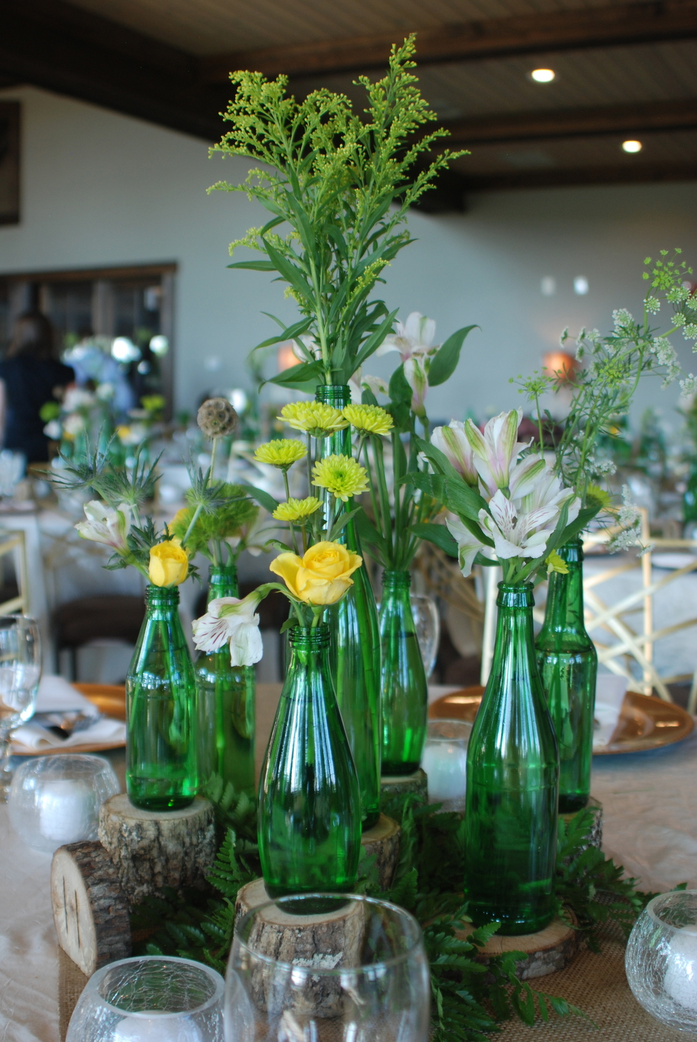 Green Bottles, Glass Votives, Wood, Table Numbers