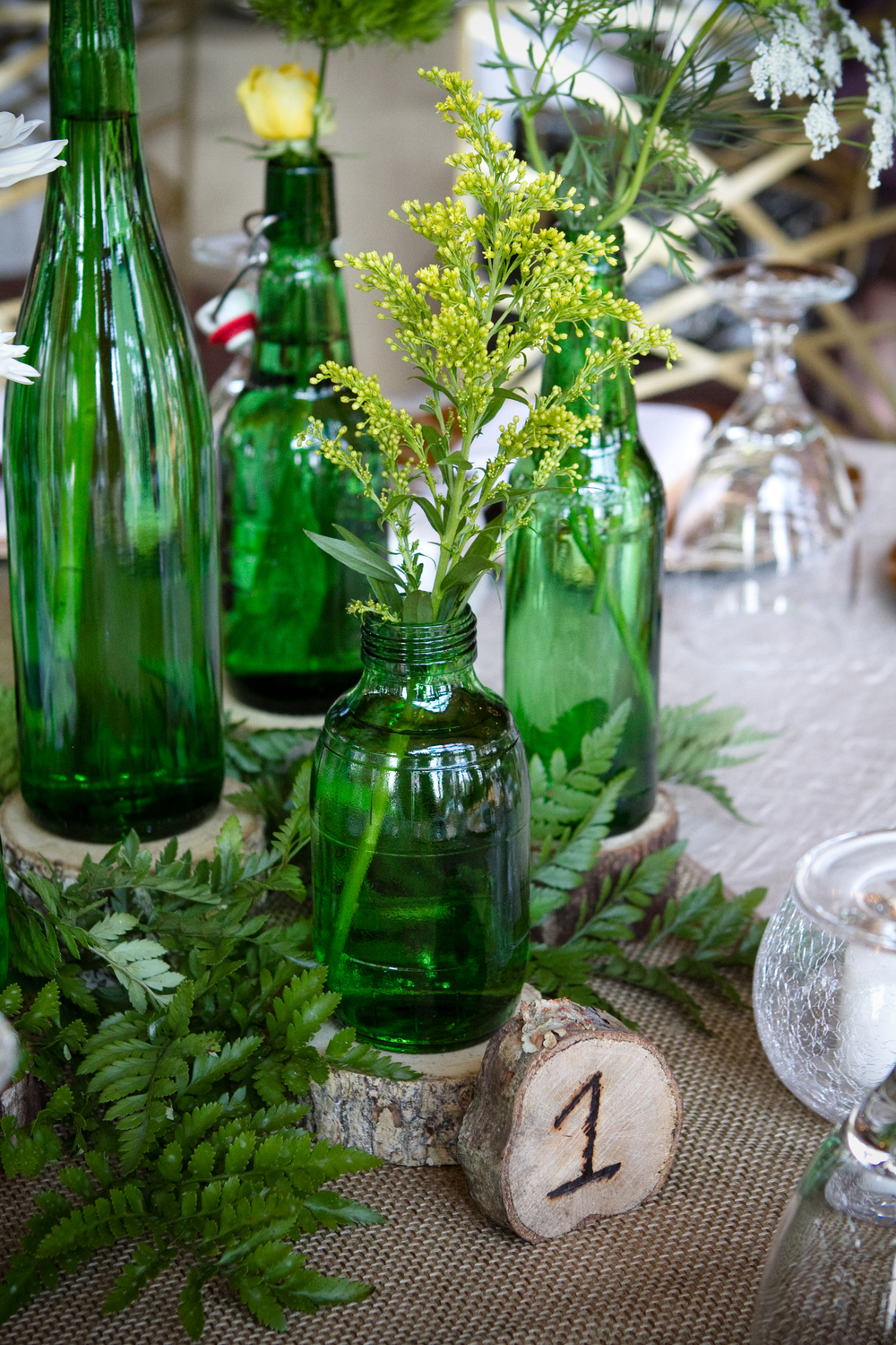 Bottles, Wood, Table Numbers, Glass Votive