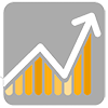 Results Icon: Start with best-practice strategies then transform, measure, test, refine, optimize and allocate.