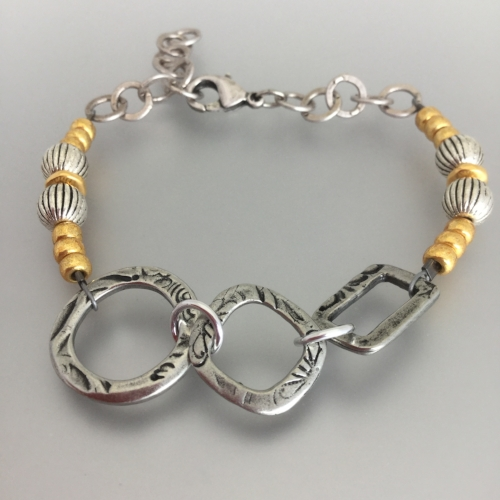 Tuesday July 17th – Phoebe Bracelet: Beginner Level - Mix up your metals - this bracelet is made with metal shapes, assorted beads and chain. $15.00 ($13.79 + $1.21)