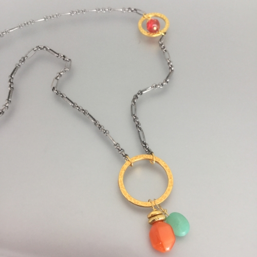 Tuesday July 31st – Carnival Necklace: Beginner Level - Combine hammered rings, chain and mixed stones to create this asymmetrical necklace. $15.00 ($13.79 + $1.21 tax)