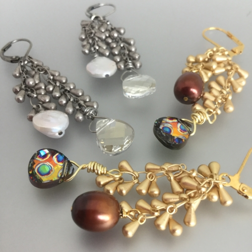 Tuesday August 7th – Felicity Earrings: Beginner Level - Drop style chain, fresh water pearls and Swarovski briolettes combine to make these sparkly earrings – dress them up or down. $20.00 ($18.39 + $1.61)