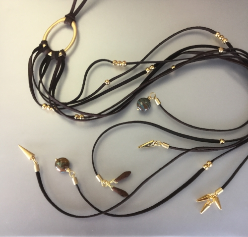 Tuesday August 14th – Triumph Necklace: Beginner Level - This statement necklace combines multiple strands of deer skin lace and a variety of findings. This necklace can be made in any length $38.00 ($34.94 + $3.06 tax) for the maximum length. Price will vary depending on the length you choose