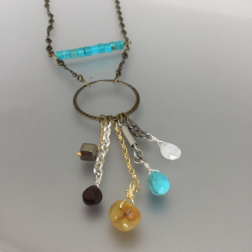 Tuesday August 21st – Monica Necklace: Intermediate Level - With mixed metals and mixed stone, this necklace is a perfect accessory for just about any outfit. $30.00 ($27.59 + 2.41 tax)
