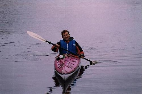 Greg Thomas paddling in the early years of Southeast Sea Kayaks