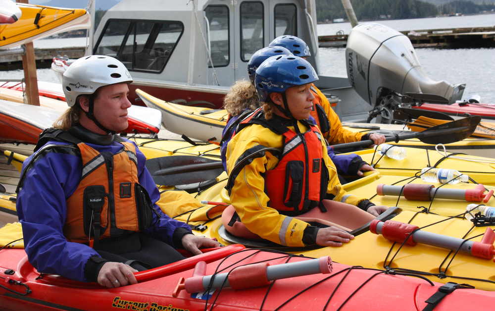Guides will train in dry-suits in the ocean learning self-rescue, doubles rescues and essential kayaking skills.