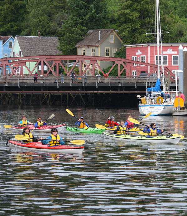 Diva paddlers head out of the Ketchikan Creek.