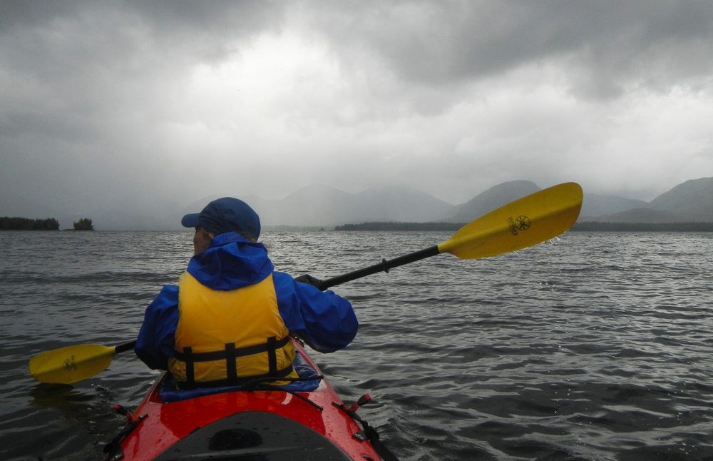 Kayaking at Orcas Cove on a beautiful, misty day.