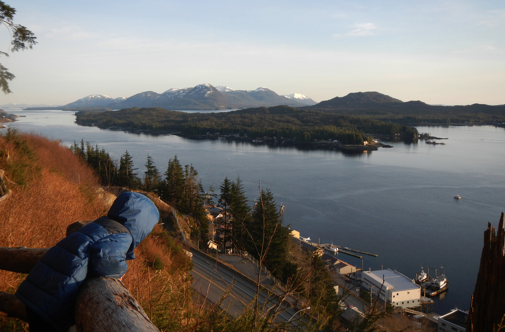 Taking in the view from the top of the Rainbird Trail: a great hike above the town of Ketchikan.