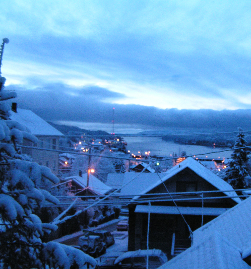 A snowy morning in Ketchikan, Alaska.
