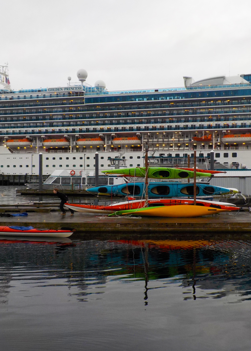 Southeast Sea Kayaks is located right in the heart of downtown next to cruise ship berth 1. We meet all our guests at the Liquid Sunshine Gauge at berth 2 and walk a few minutes to our floating office.