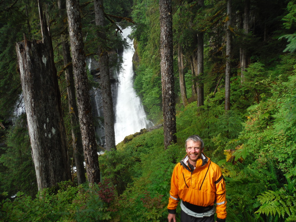 Natcho at the waterfall on the hike to Punchbowl Lake in the Misty Fjords National Monument.