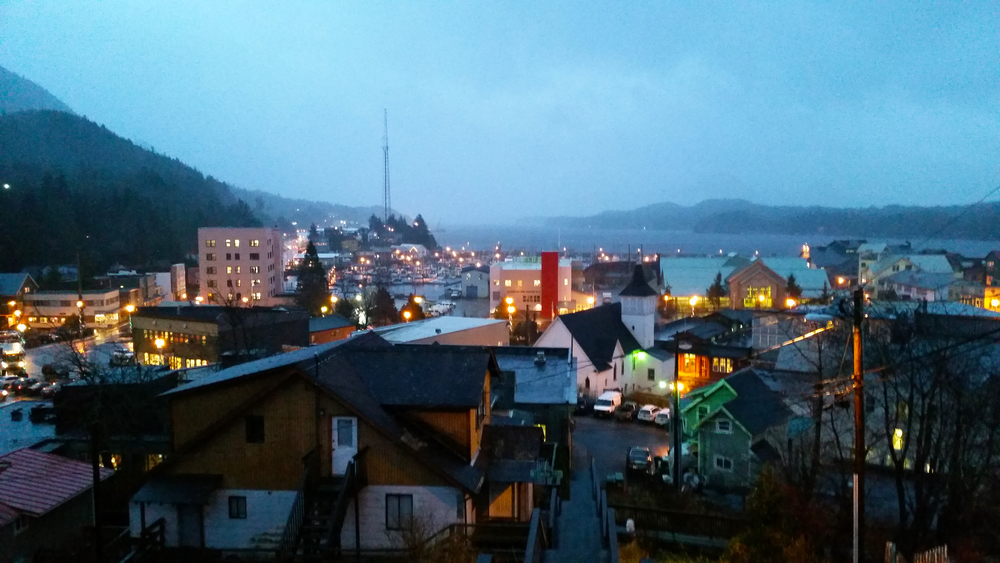 Looking over downtown Ketchikan from the Edmond Street Stairs at twilight, which is about 3pm in midwinter.