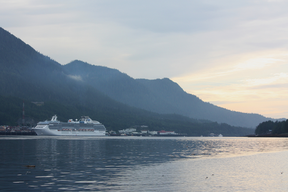 Cruise ship at the dock in Ketchikan.
