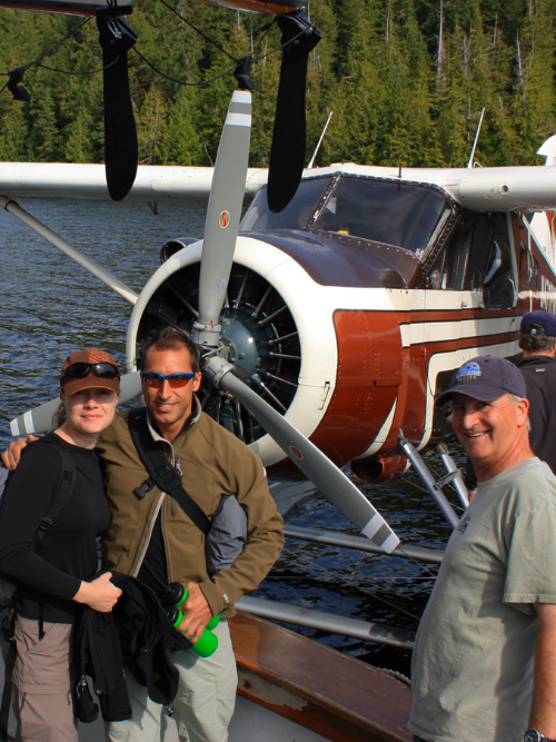 Float-plane arrives at Orcas Cove to fly guests to the Misty Fjords National Monument.