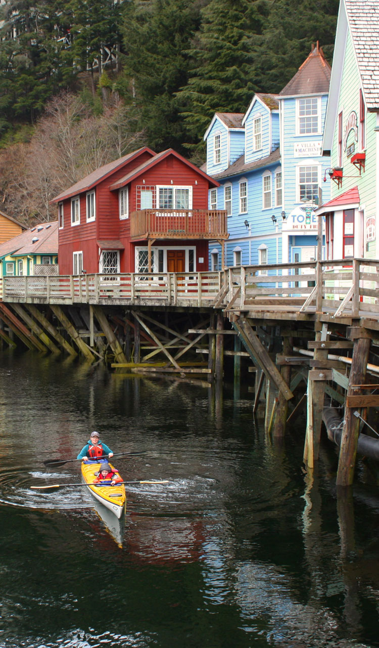 Kayak the Ketchikan Creek which is a historic district and active salmon stream and learn about Ketchikan's colorful past.