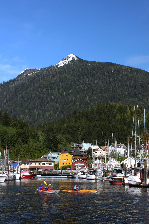 Kayakers in historic Thomas Basin in downtown Ketchikan, Alaska