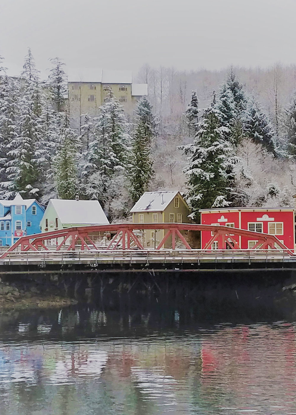 Ketchikan's red bridge and the brightly colored houses of the former red light district.