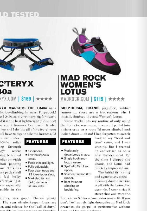 Mad Rock shoe review for print publication