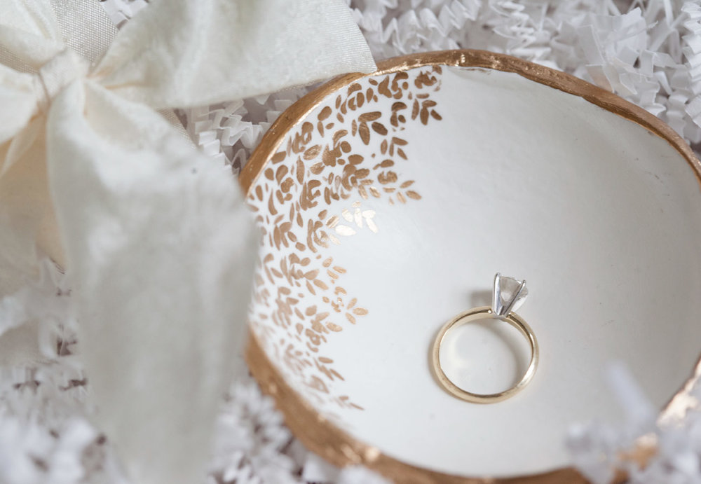 The Painted Press Gold Rim and Floral Ring Dish