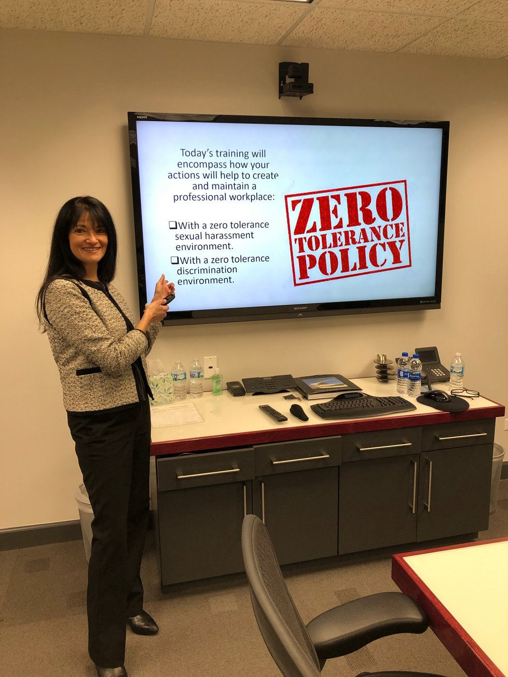 Caren Naidoff providing training to one of our clients on Zero Tolerance Sexual Harassment and Discrimination.
