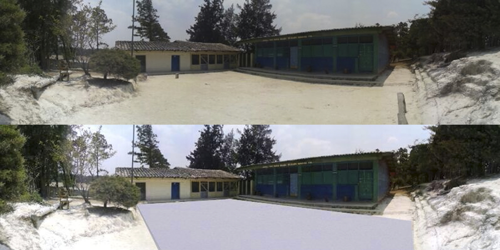 Playground before/after concrete poured rendering